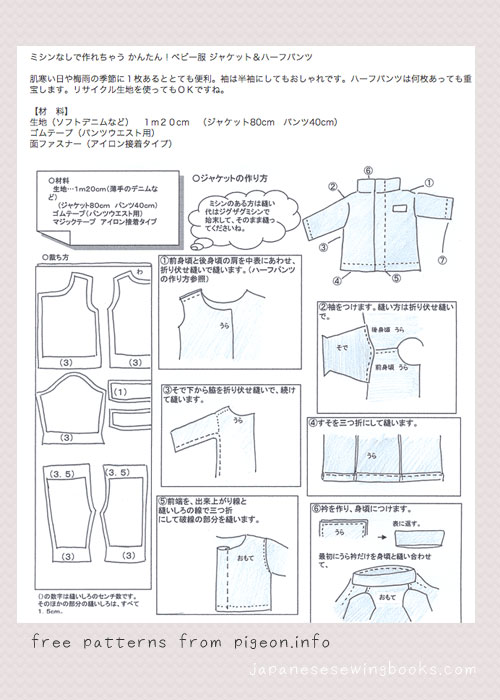 Free Japanese Sewing Patterns – pigeon.info | Japanese Sewing ...