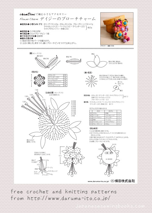 Crochet Stitches In Pdf : Free Crochet and Knitting Patterns - daruma-ito.co.jp Japanese ...