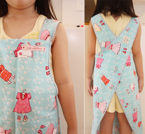 Free Pattern, Tutorial and Sewing Video – Cross back apron for adult and kids