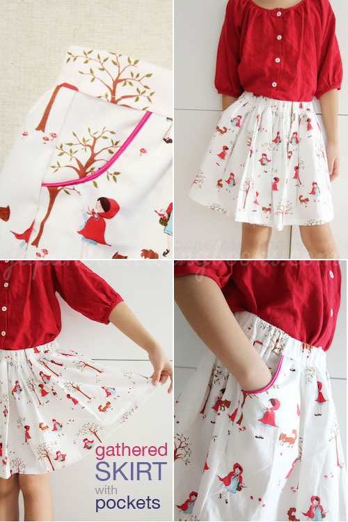 Free pattern and tutorial – Skirt with piped pockets.